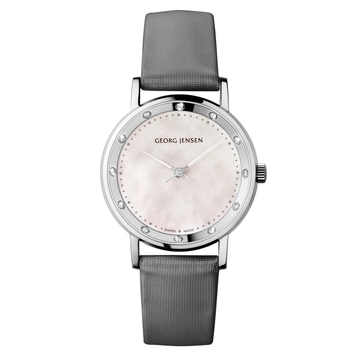 Fabulously feminine watch; mother of pearl face, diamonds at the hours and a sleek, silver satin strap. http://www.catherinejones.com/georg-jensen-koppel-with-diamonds-0-12ct.html