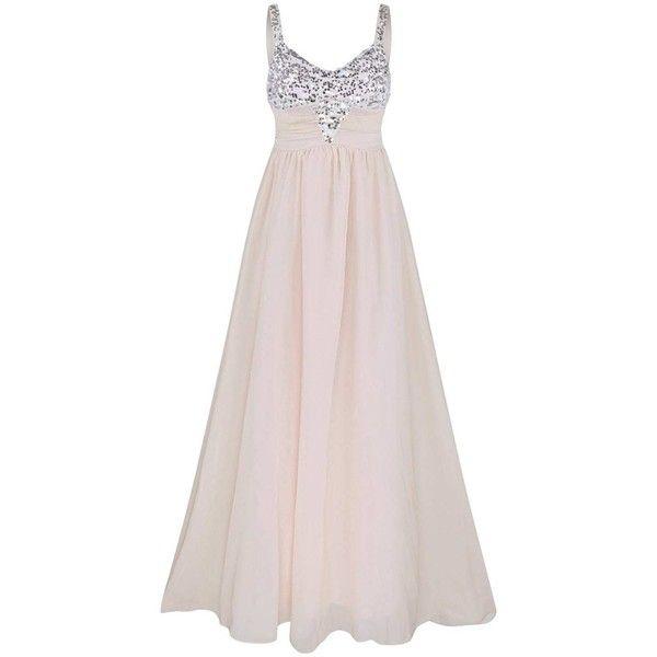 Light Pink XL Sequin Insert Spaghetti Strap Chiffon Dress ($18) ❤ liked on Polyvore featuring dresses, spaghetti strap dress, light pink cocktail dress, pink sequin cocktail dress, chiffon dresses and light pink sequin dress