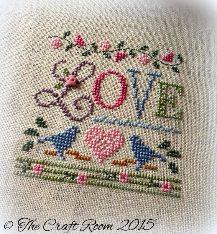 The Craft Room A Little Love - Lizzie Kate. 32ct Flax Belfats Linen (provided in the kit). Used mixture of DMC and hand dyed threads. DMC 520, 931, 932, 3354. WDW Pecan. WDW Romance. WDW Scuppernong. WDW Purple Haze.