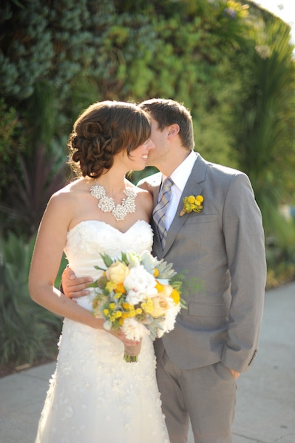 Cute shot!: White Flowers, Statement Necklaces, Grey Suits, Floral Design, Color, Bouquets, Style Me Pretty,  Bridegroom, Grooms