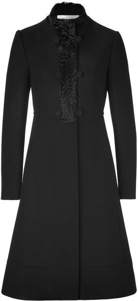 VALENTINO black wool coat with persian lamb trim