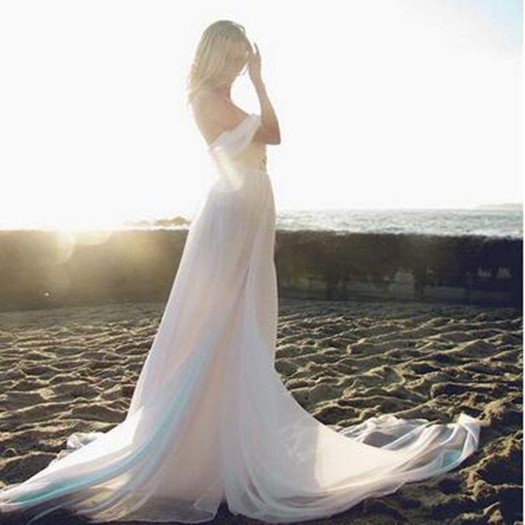 vestido de novia Cheap Beach Chiffon Wedding Dress 2016 brautkleid Off the Shoulder Simple Wedding Gown Alibaba China