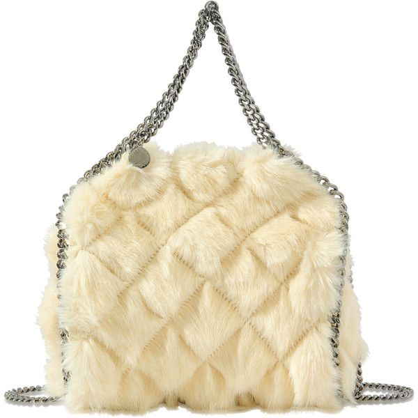 Stella McCartney Mini Bella fausse fur Falabella bag (2.940 BRL) ❤ liked on Polyvore featuring bags, handbags, white, stella mccartney handbags, stella mccartney, white bag, white handbags and white fur bag