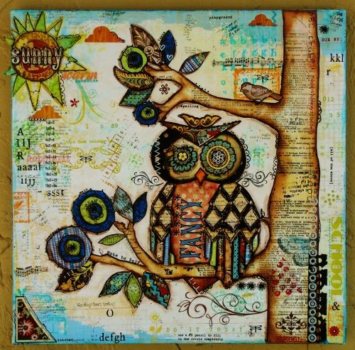"another 12 x 12 mixed media piece that I created - I was inspired by a gift bag that had this owl design on it that I unearthed in my studio during my great Studio clean-up of 2012, as well as an ""owl"" assignment in my art journaling class ""The Art of Wild Abandonment"" - lots of up-close photos of this on my blog www.justaboutthedetails.com"
