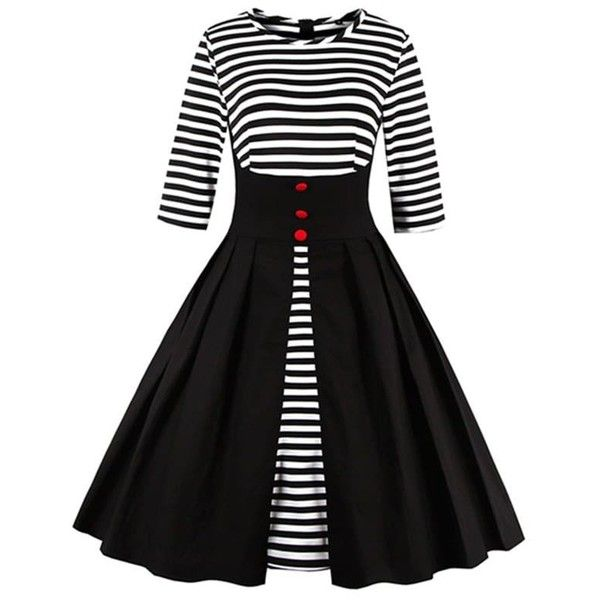 Midi Striped Formal Skater Cocktail Dress ($22) ❤ liked on Polyvore featuring dresses, stripe dress, formal midi dress, midi dress, skater dresses and mid calf formal dresses