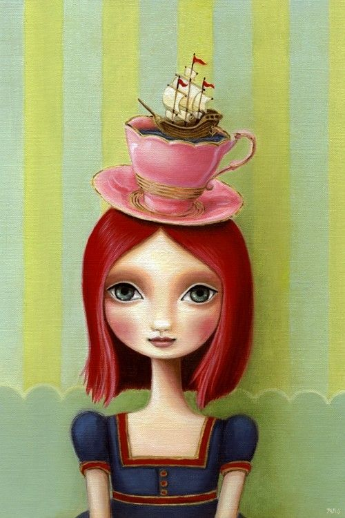 Nautical Art big eye girl with teacup poster ship pink hair tea time 13x19 LARGE print - Alice in Wonderland inspired art by Marisol Spoon