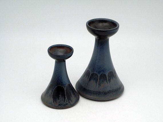 Set of two Mid Century Modern candleholders by KMK by Eclectivist, $38.00