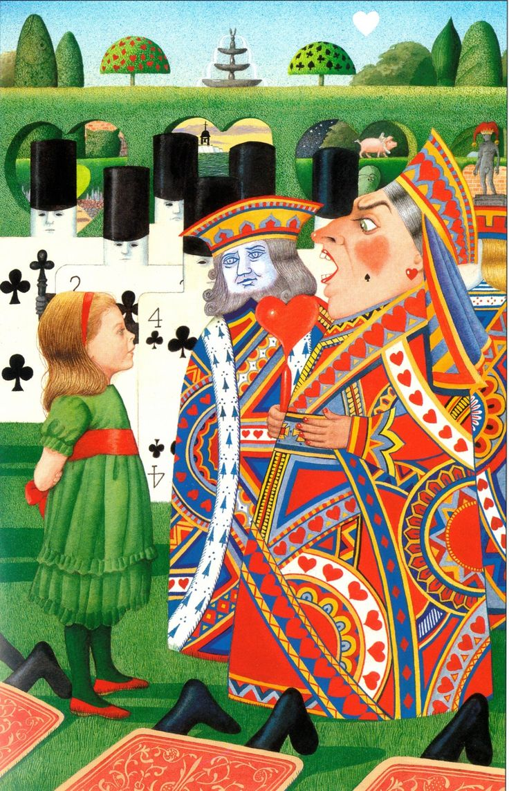 """Anthony Browne on his new illustrations for Alice in Wonderland: """"Queen of Hearts is constantly angry so I clothed her in a vibrating mass of red, blue and yellow that's actually discomforting to to look at for more than a second or two. She's got more of a three-dimensional reality than the other playing card figures, as befits her more assertive personality."""""""