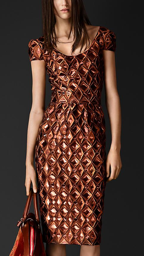 Burberry Prorsum Metallic Geometric Cloqué Dress