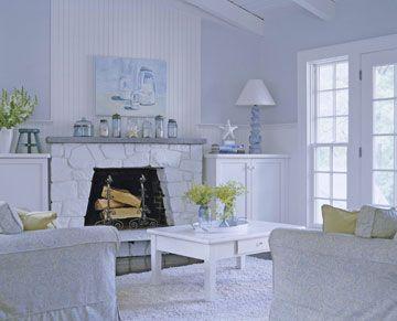 White stone fireplace