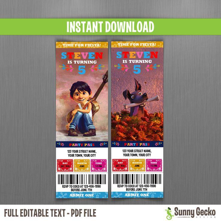 Coco Birthday Ticket Invitations ny Sunny Gecko Design