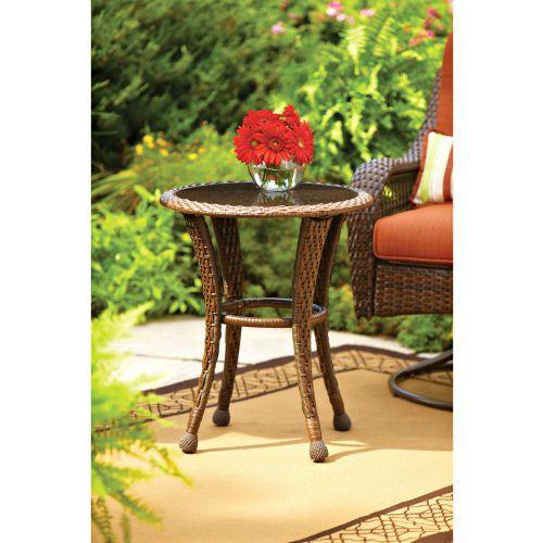 Wicker Side Table Round Patio Coffee Table Rattan Glass Top Rattan Furniture New #RattanPatioFurniture #Rustic
