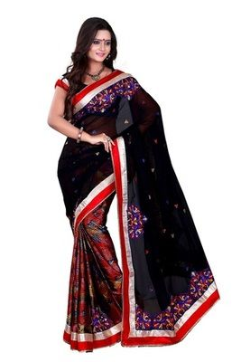 Aesha designer Georgette  Black Saree With Matching Blouse