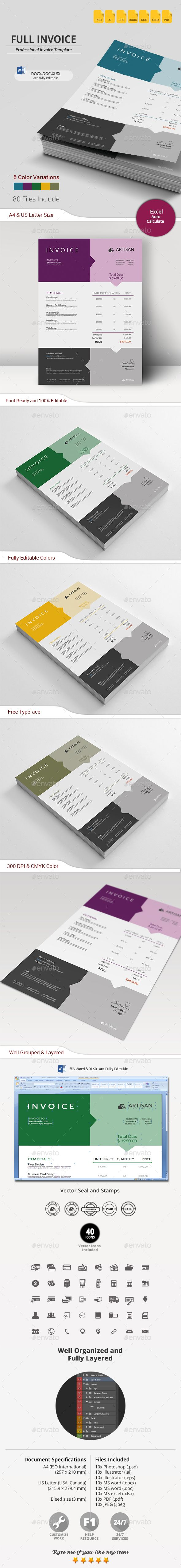 Full Invoice  #elegant #graphic #indesign • Available here → http://graphicriver.net/item/full-invoice/15780121?ref=pxcr