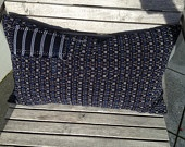 Japanese indigo pillow made of vintage ikat fabric.