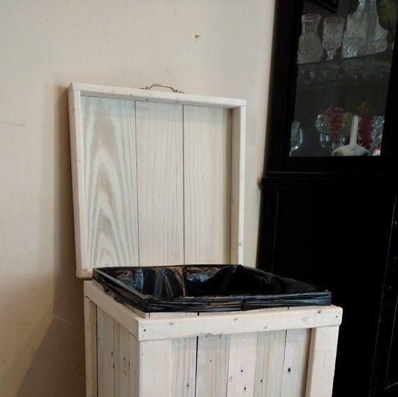 Wood Trash Bin Kitchen Trash Can Wood Trash Can White