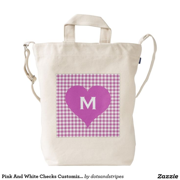Pink And White Checks Personalized Monogram Heart Duck Tote Bag