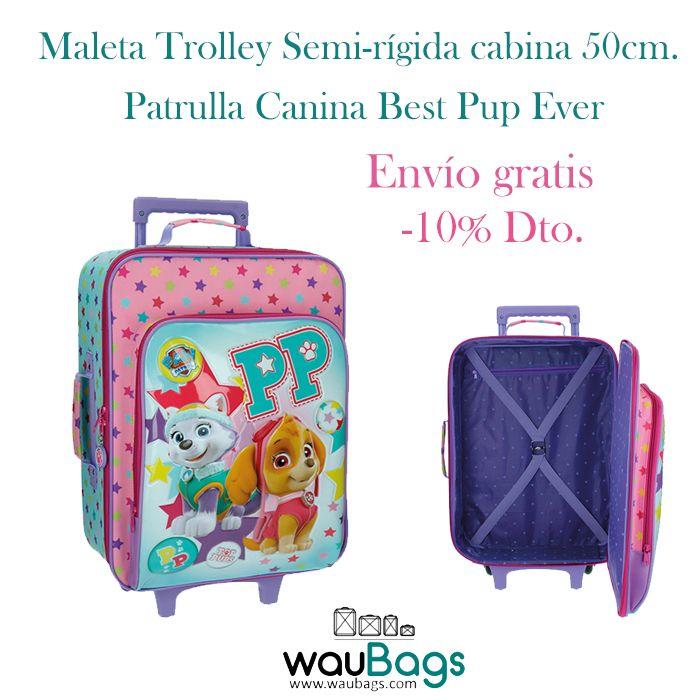 """Con la Maleta Trolley Semi-rígida Patrulla Canina """"Best Pup Ever"""" no tendrás que facturar, ya que sus medidas son las homologadas para poder llevarla en la cabina del avión.¡¡Ahora con un 10% de descuento!! @waubags #patrullacanina #pawpatrol #infantil #maleta #trolley #cabina #oferta #descuento #waubags"""