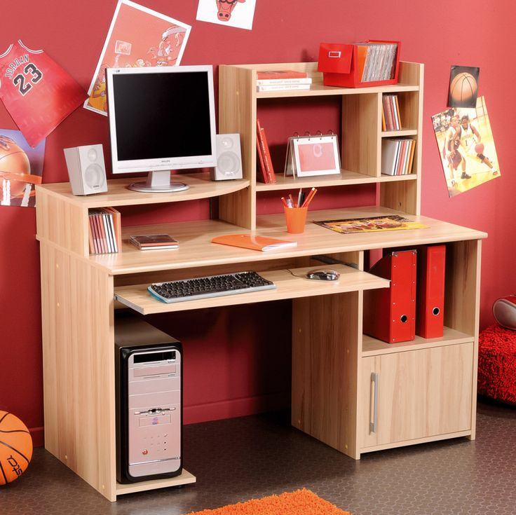 How to Organize Desks for Teenagers : Divine Teens Room Teenager Desk With Natural Wood Finish Computer Keyboard Drawer Side 4 Column Book Cabinet And Cpu Compartment Cool Teenagers Desk Design Inspiration