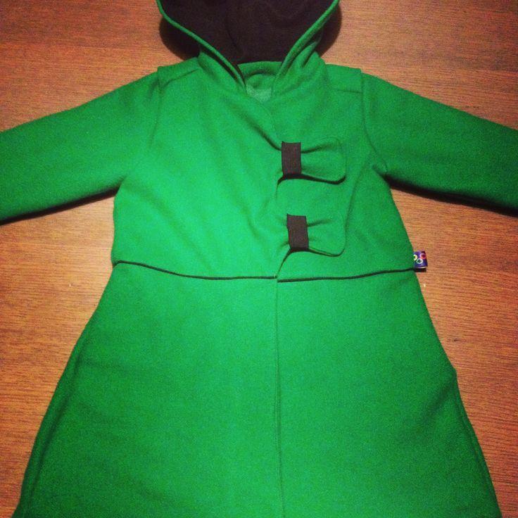 naaien, jas, zelfgemaakt, groene jas