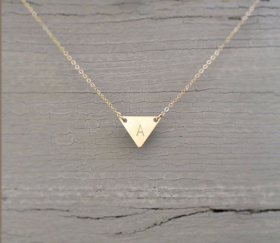 Dainty Gold Triangle Necklace / Perfect Layering by LayeredAndLong