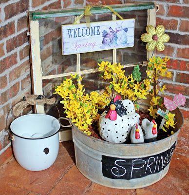 Spring Front Porch Wash Tub Planter