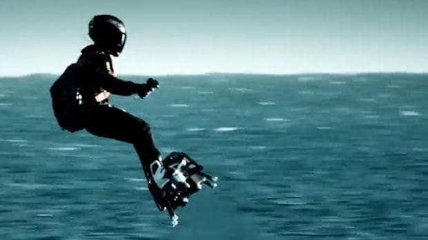 French inventor flies real-life hoverboard over the Atlantic Ocean A futuristic video has emerged of a man flying on a hoverboard across the Atlantic Ocean. | Breitling takes to the skies with Franky Zapata on Flyboard® #futuristictechnology