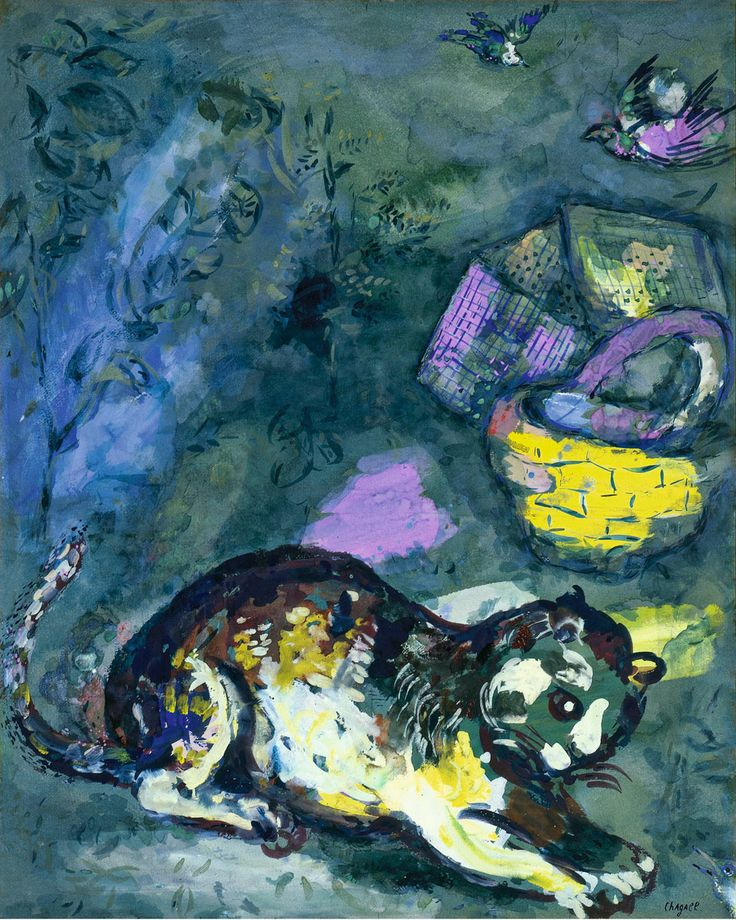 """""""Le chat et les deux Moineaux"""" (The cat and the two sparrows), 1925-26. Watercolor and gouache painting by Marc Chagall for The Fables by La Fontaine"""