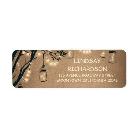 Romantic Rustic Fireflies Mason Jars Wedding Label #rustic #rusticwedding #weddinginvitation
