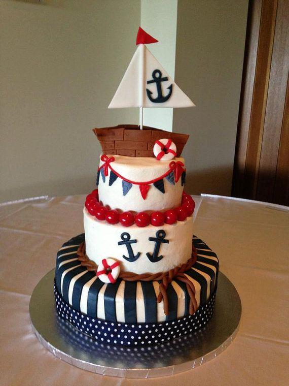 Cute Fondant Sailboat Cake Topper by FondantCakeToppers on Etsy