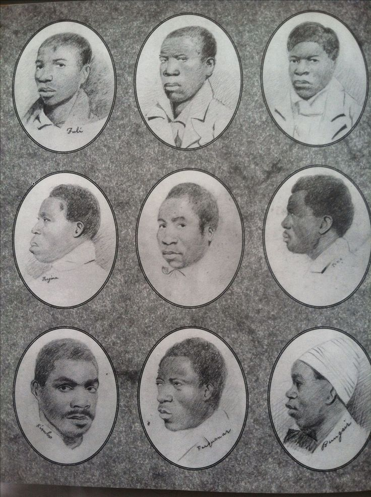 End paper, Amistad: The Long Road to Freedom by Walter Dean Myers (1998) The end papers are authentic courtroom sketches of some of the illegally enslaved captives.