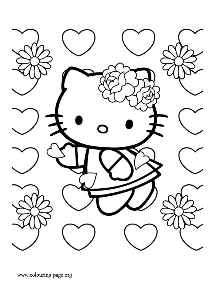 Hello Kitty On Valentines Day Coloring Page Kids ColouringColoring Pages