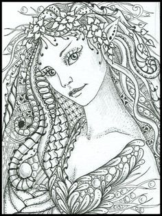 intricate fairy coloring pages zentangles drawing pen ink