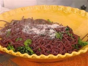 Red wine spaghetti with spicy broccoli rabe and Pecorino Romano, Chef ...