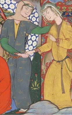 Ideal of beauty determined by observation of artwork and Persian court poetry