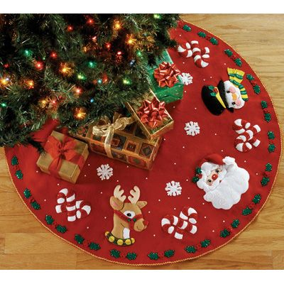 Felt Tree Skirt Kits Applique | Bucilla Felt Applique Kit - Santa and Friends Tree Skirt | Meijer.com