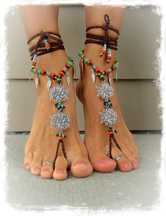 BOHEMIAN BAREFOOT WEDDING barefoot sandals Toe Anklets crochet Gypsy sole less Sandal bare feet flowers Foot jewelry Festival jewelry GPyoga