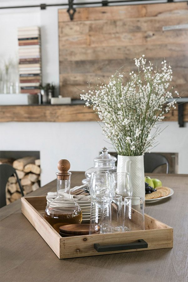 Modern Farmhouse Trays Can Add A Functional Touch To Any Table Kitchen Table Decor Kitchen Island Decor Farmhouse Kitchen Tables