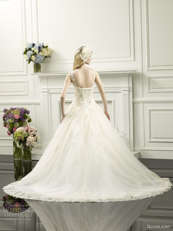 moonlight couture spring 2014 ball gown embellished straps style h1251 back