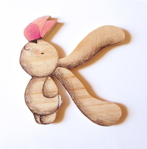 Alphabet Letter K Wooden Nursery wall art New Baby gift. by Ciacio
