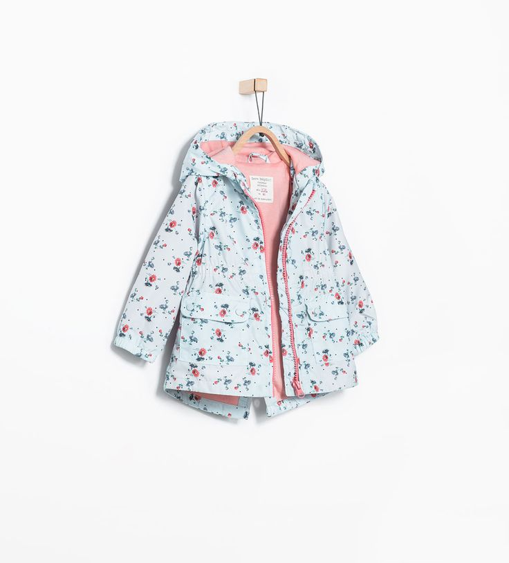 Image 1 of Printed raincoat with hood from Zara
