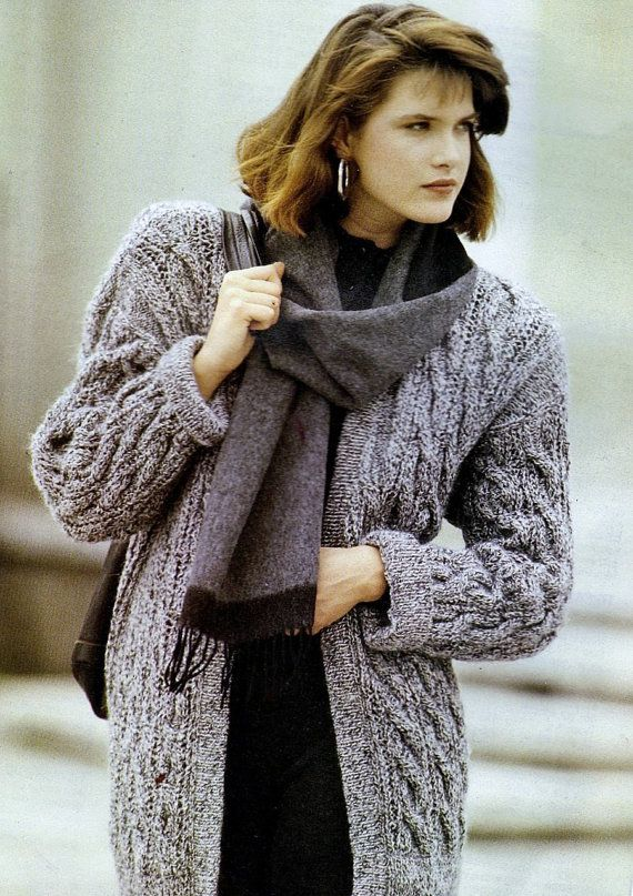 """Instant PDF Download Vintage Row by Row Knitting Pattern to make a Ladies Long Loose Fitting Aran Style Cable Cardigan or Jacket Bust 34-38"""""""