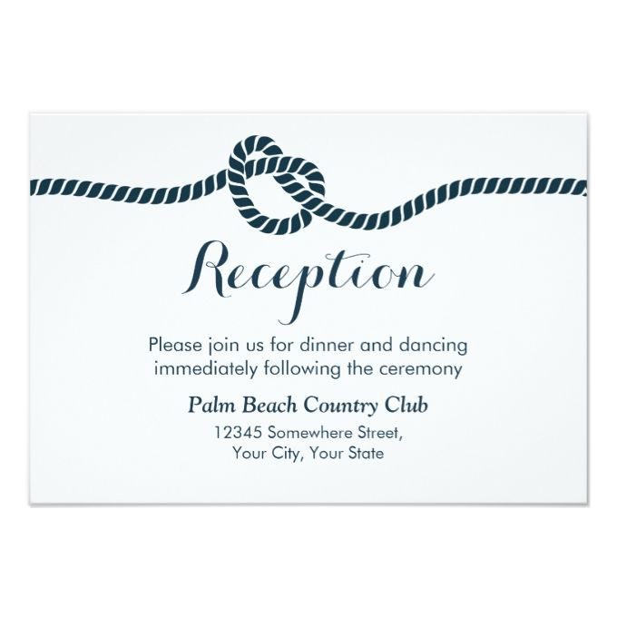 2566 best nautical wedding invitations images on pinterest simple elegant tying the knot wedding reception card stopboris Gallery