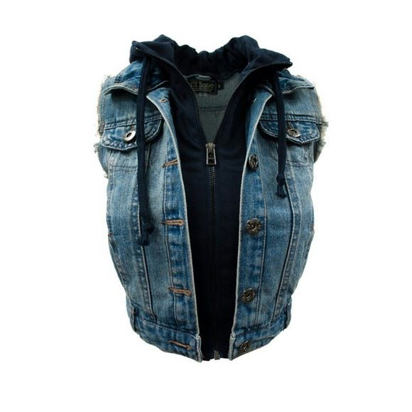Denim Zip Up Hoodie Vest #397-ML Denim vest with a fleece zip up hoodie attached. Tops Sweatshirts & Hoodies