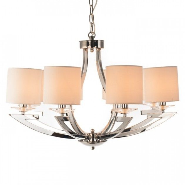 Straale® Corleone Hvit - 8 Armet Lysekrone med skjerm. #chandelier #design #textile #skjerm #lysekrone #lyskrone #interiør #spisebord #lampe #lunelamper.no