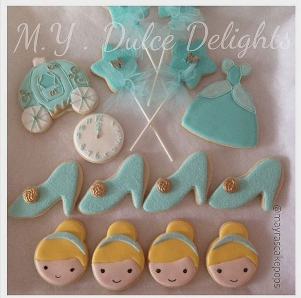 "Mayra Rodriguez on Instagram: ""Sweet Cinderella Cookies for a special little girls birthday! Happy Birthday Maia  #cinderella #sugarcookies #customsweets #customcookies #cinderellaslipper #carriage #cinderellagown #littlegirl #birthdaycookies #mayrascakepops #mydulcedelights @simplydivineeventdecor"""