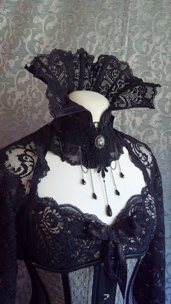 Dramatic Victorian Steampunk Gothic black High neck corset/ corset collar by kvodesign.