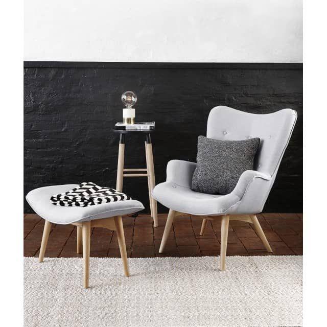 Sessel mit Hocker im Retrostil, grau - myadele