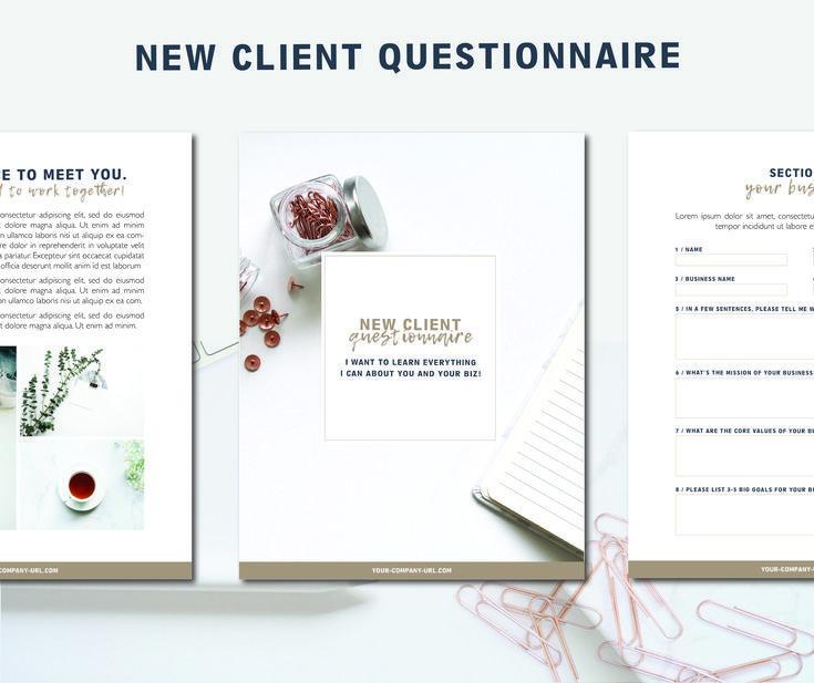 Client Questionnaire New Client Survey Template Branding Etsy In 2020 Survey Template Client Questionnaire Questionnaire Design