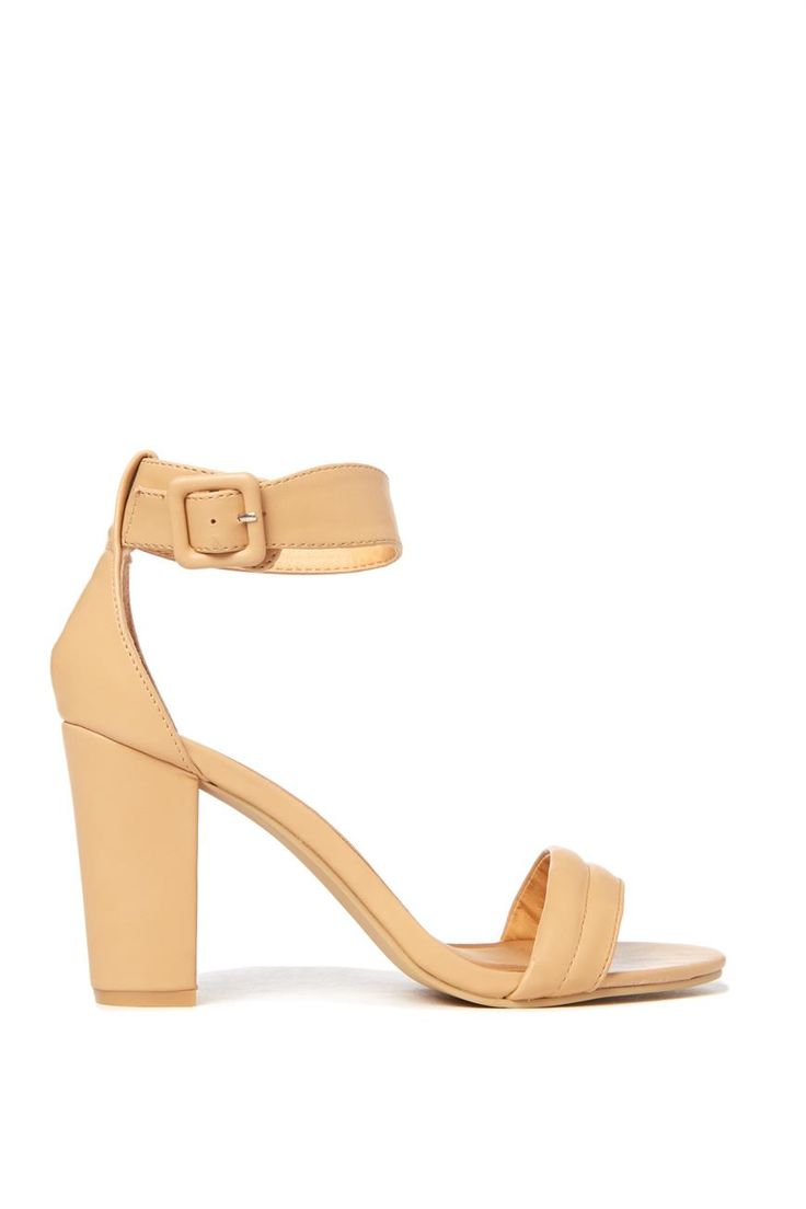 """You can achieve an urban chic look with the understated heel that is San Fernando. A """"Barely There"""" single sole dress heel with adjustable ankle strap and padded vamp strap. We love it with any outfit be it a cocktail dress, skinny jeans or denim shorts and kimono.- you simply cant go wrong here girls!  Microfiber covered wooden block heel measures 9cm"""